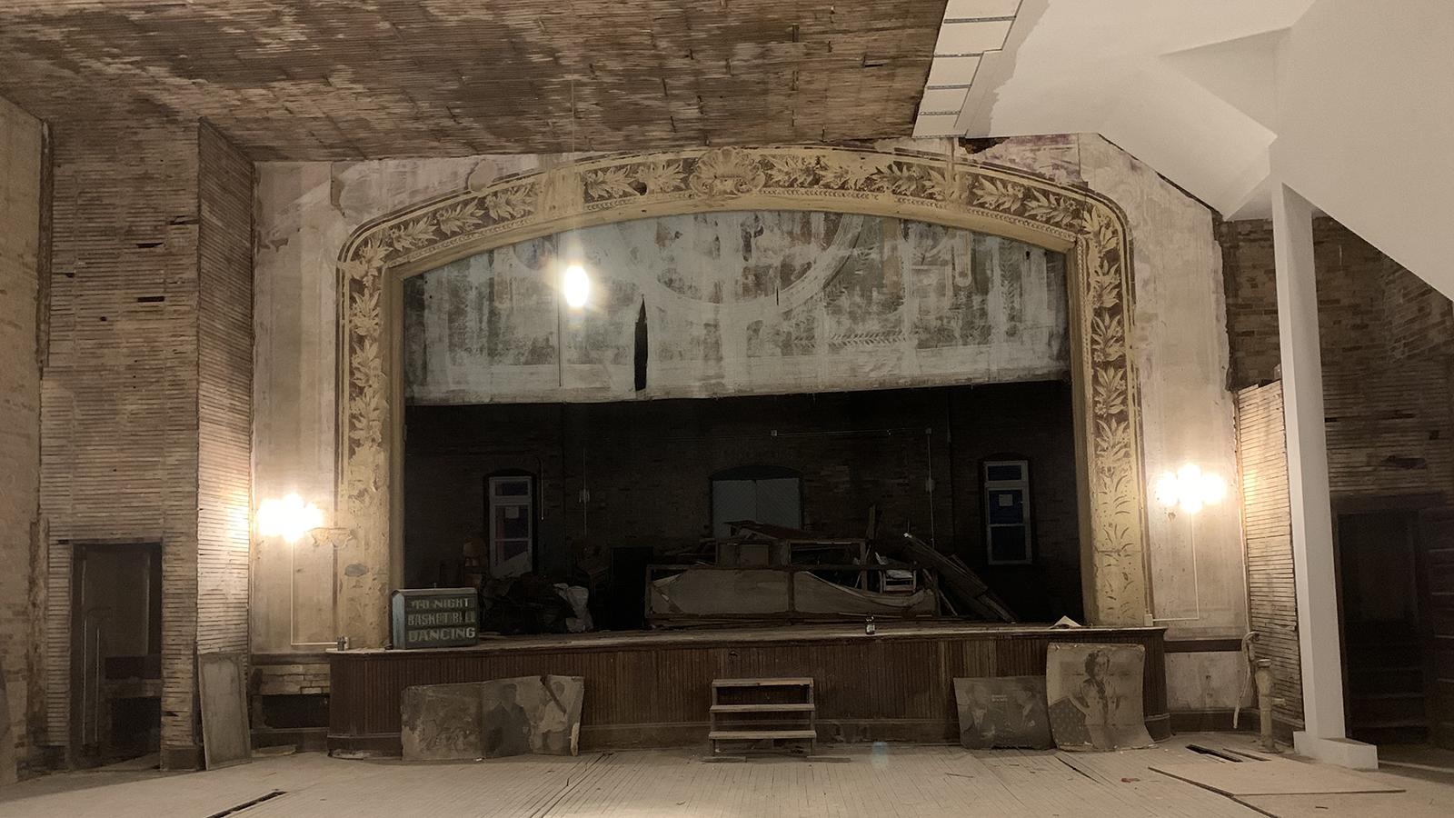 The main stage in process of renovation of the Tecumseh Theater in Shawnee, Ohio.
