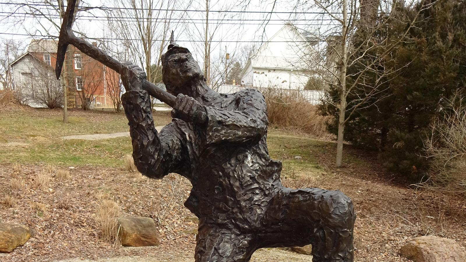A view of the miner statue in downtown Shawnee, Ohio.