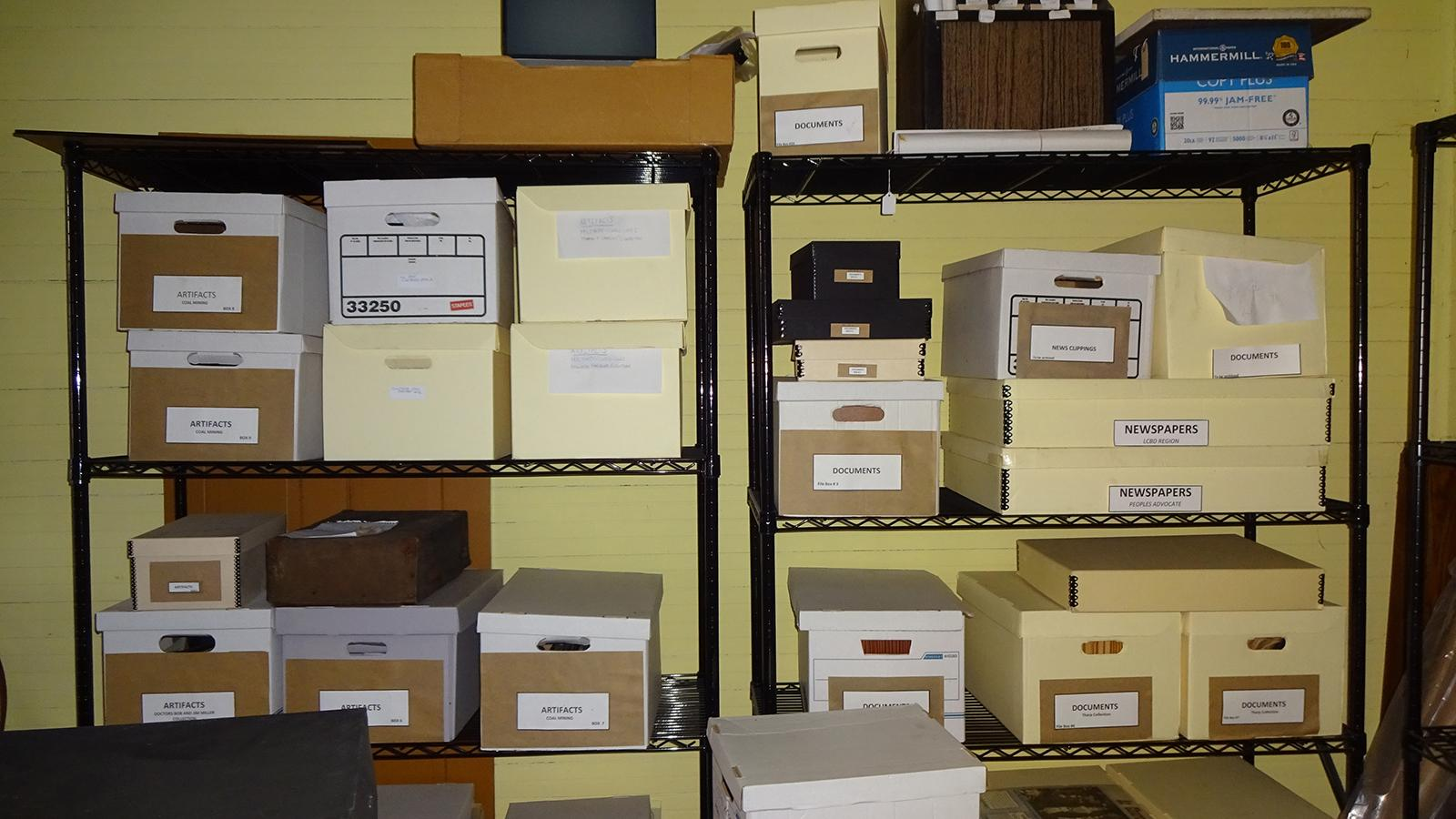 Archival boxes within the Little Cities of Black Diamonds Council Office