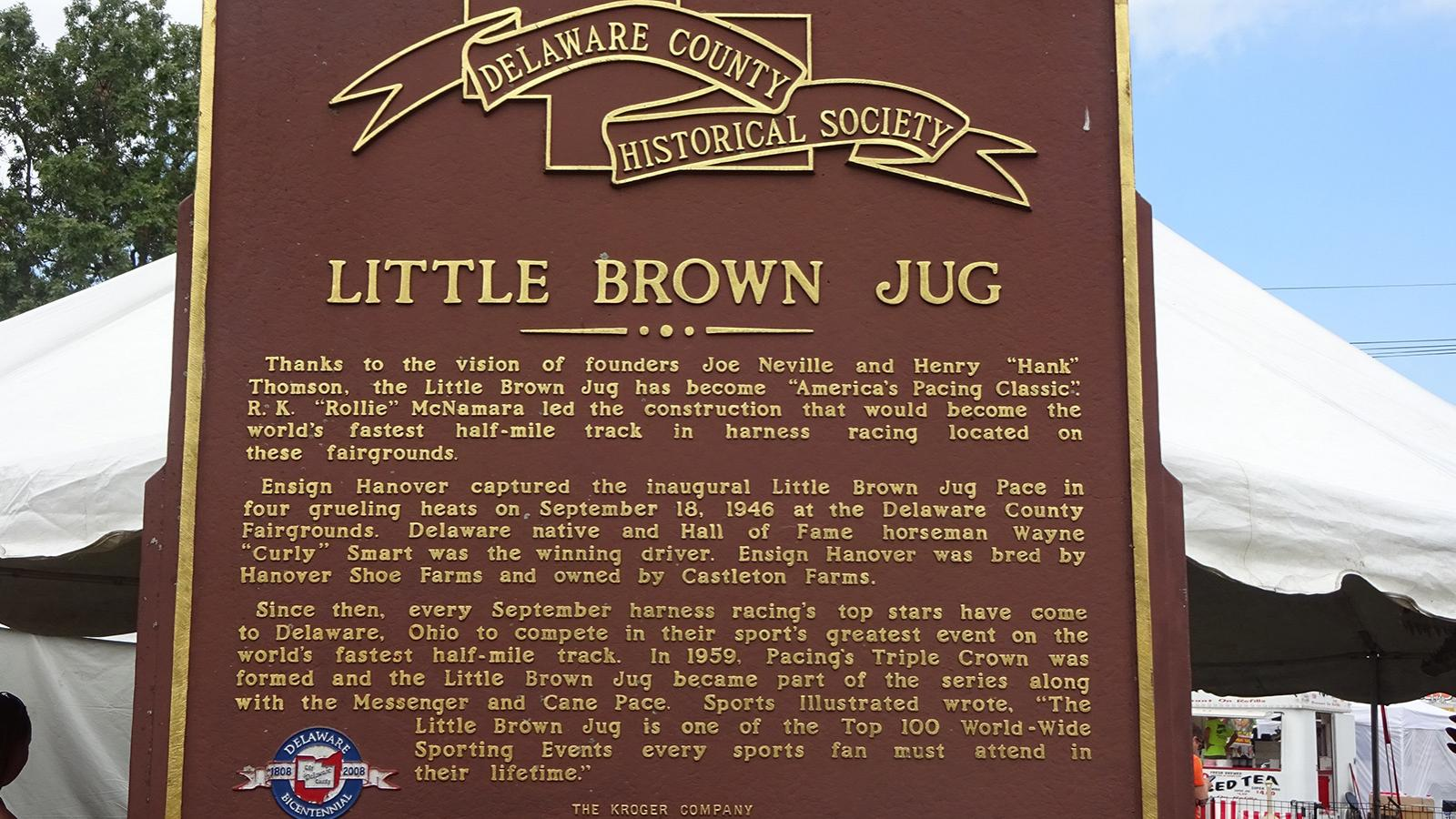 Historical marker for the Little Brown Jug