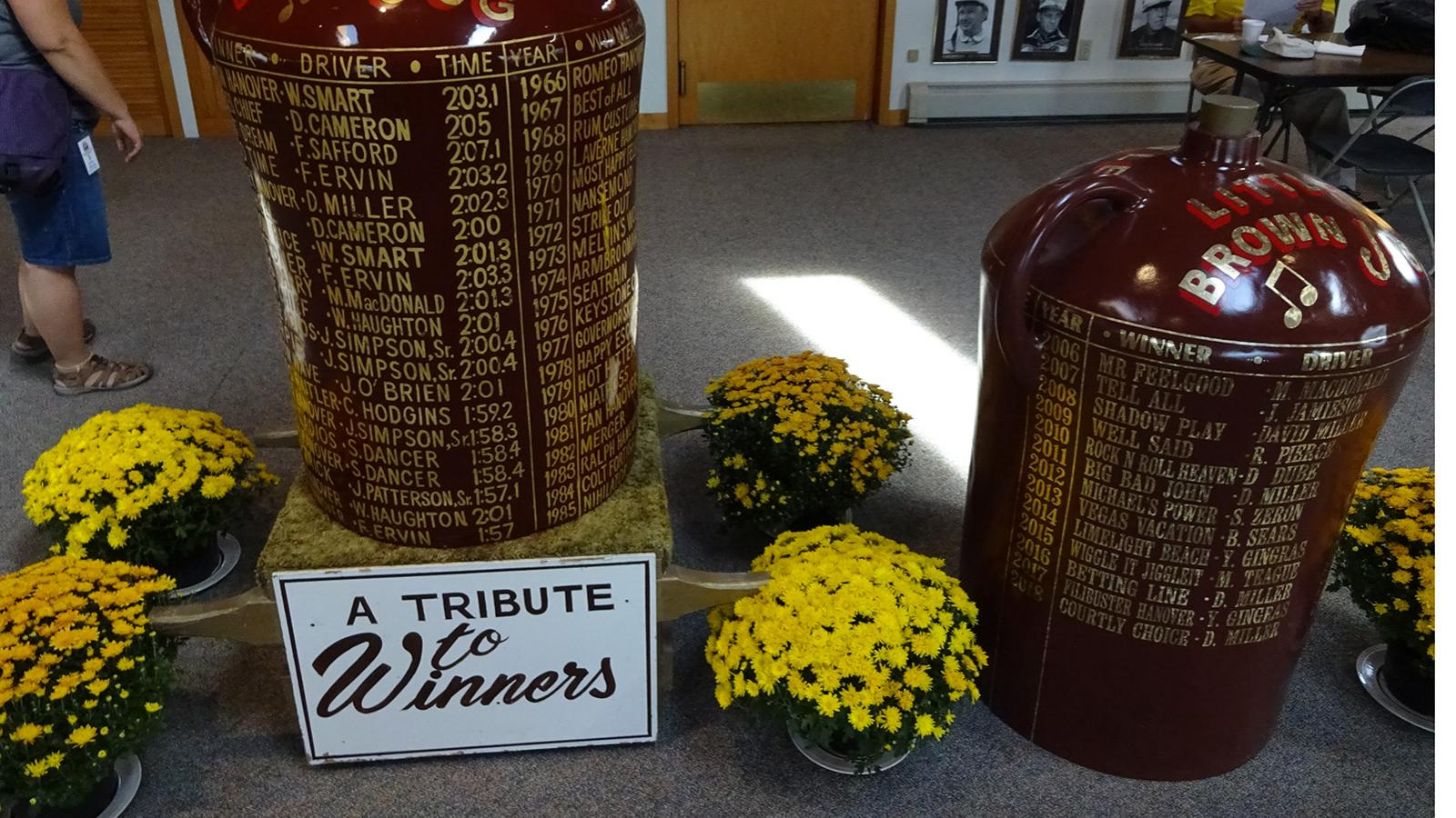 Little Brown Jug trophies.