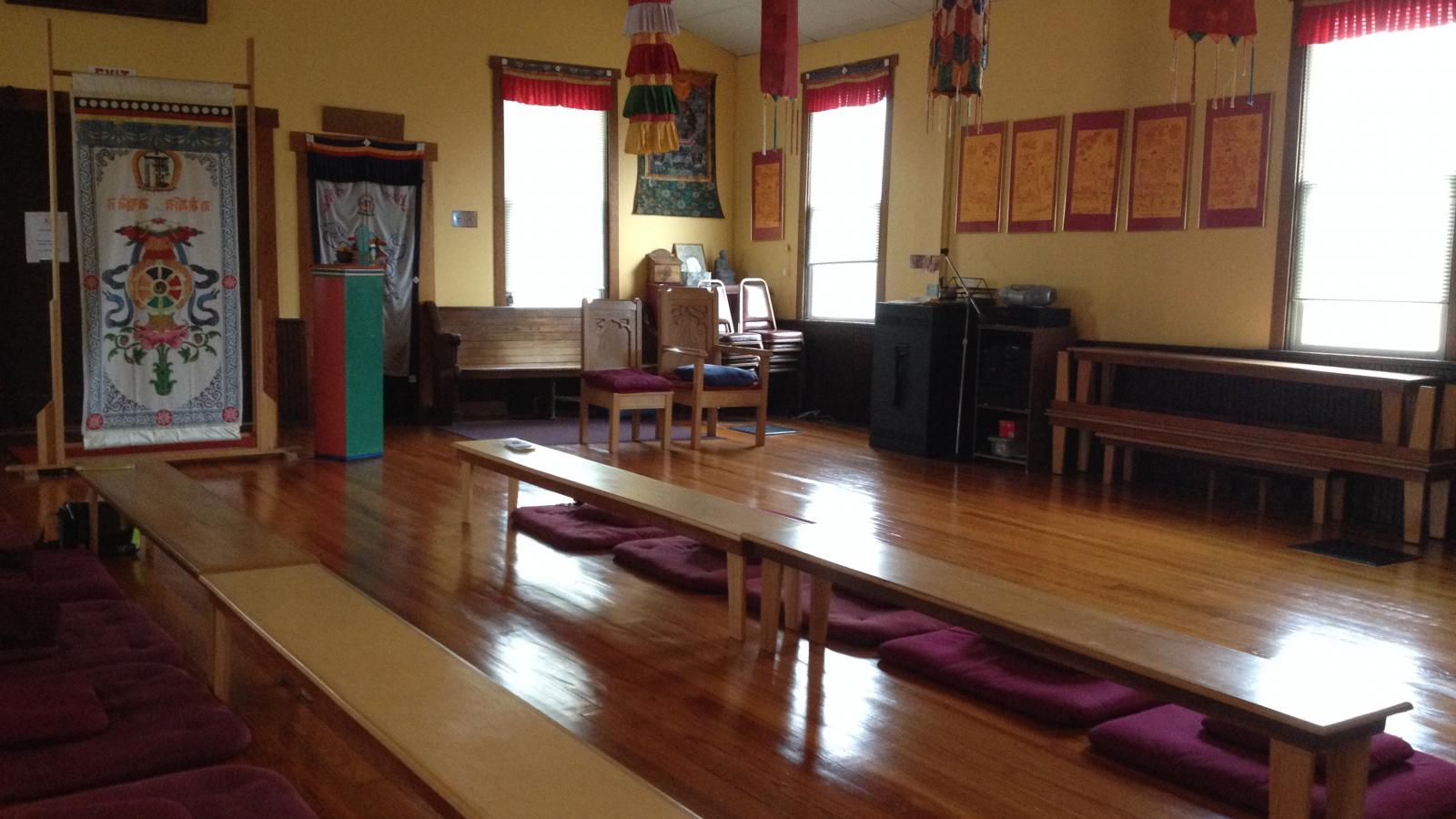 Meditation space facing the exit/entrance at the Columbus Karma Thegsum Chöling Center