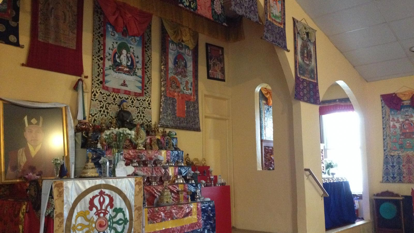 Meditation center shrine at the Columbus Karma Thegsum Chöling Center