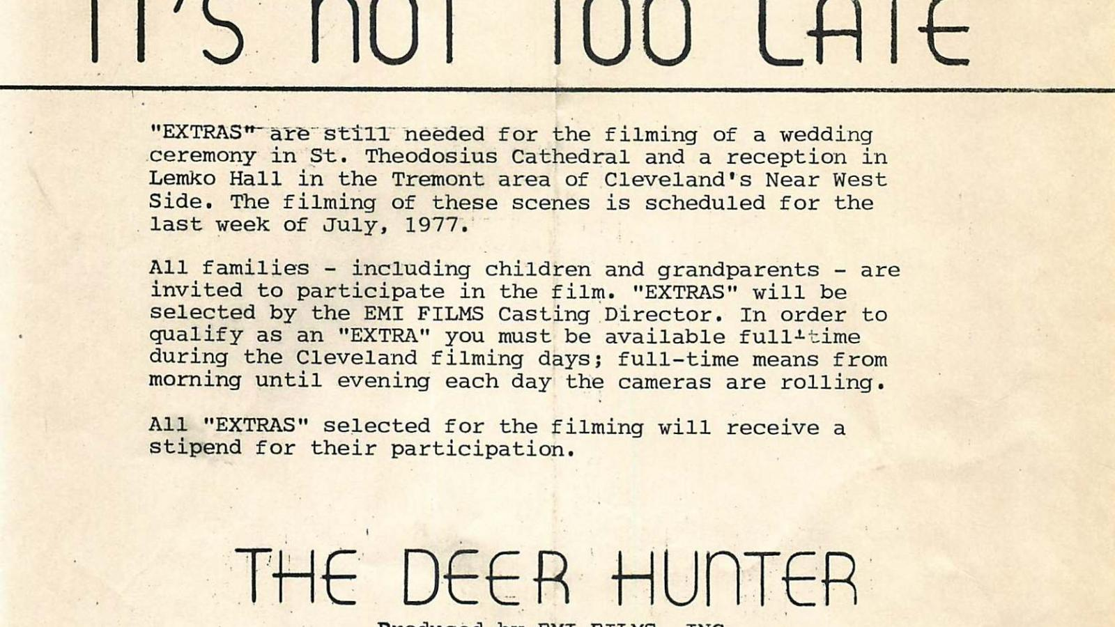 Flier calling for extras for the feature film, The Deer Hunter, July, 1977.