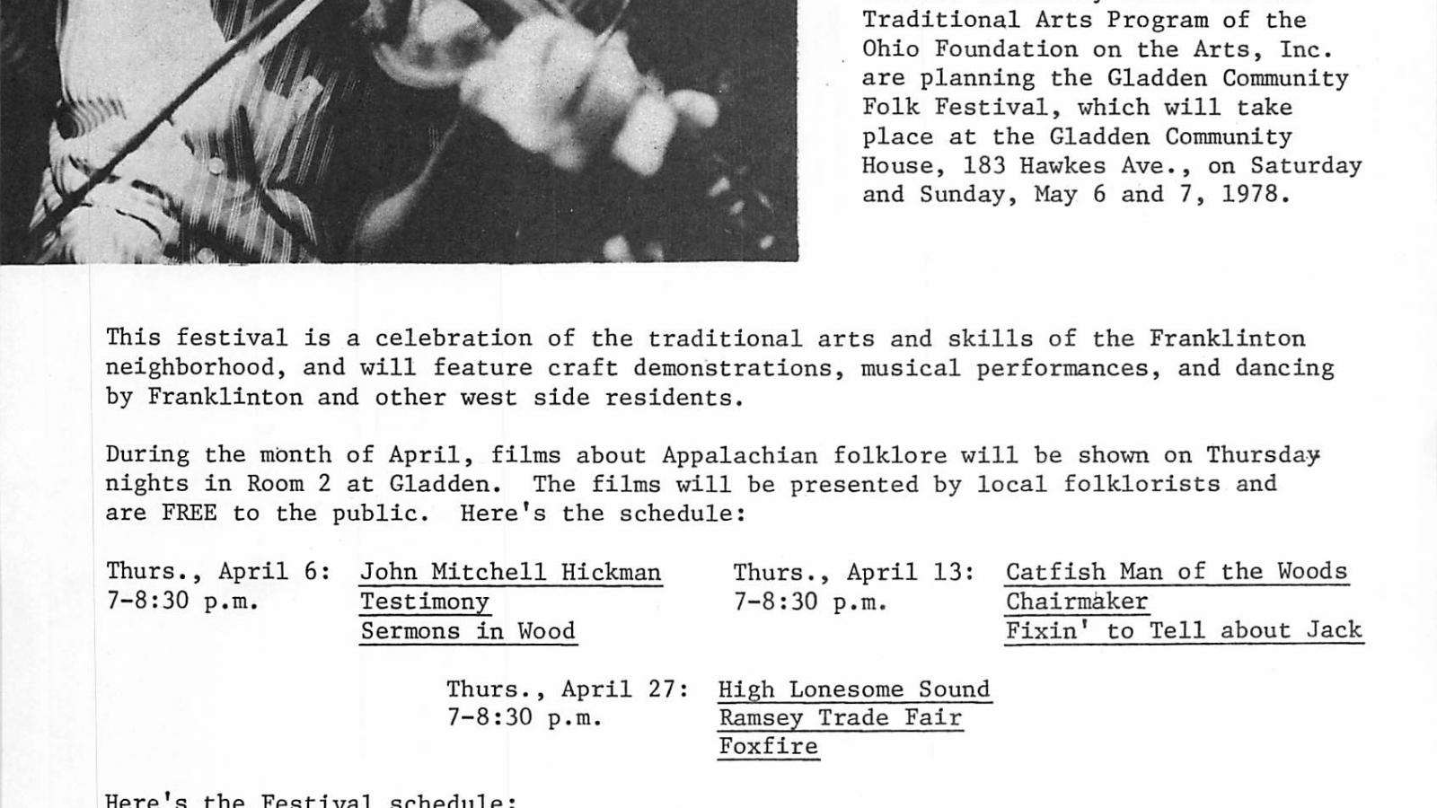 Flyer for Gladden Community Folk Festival in Columbus, May 5-6, 1978