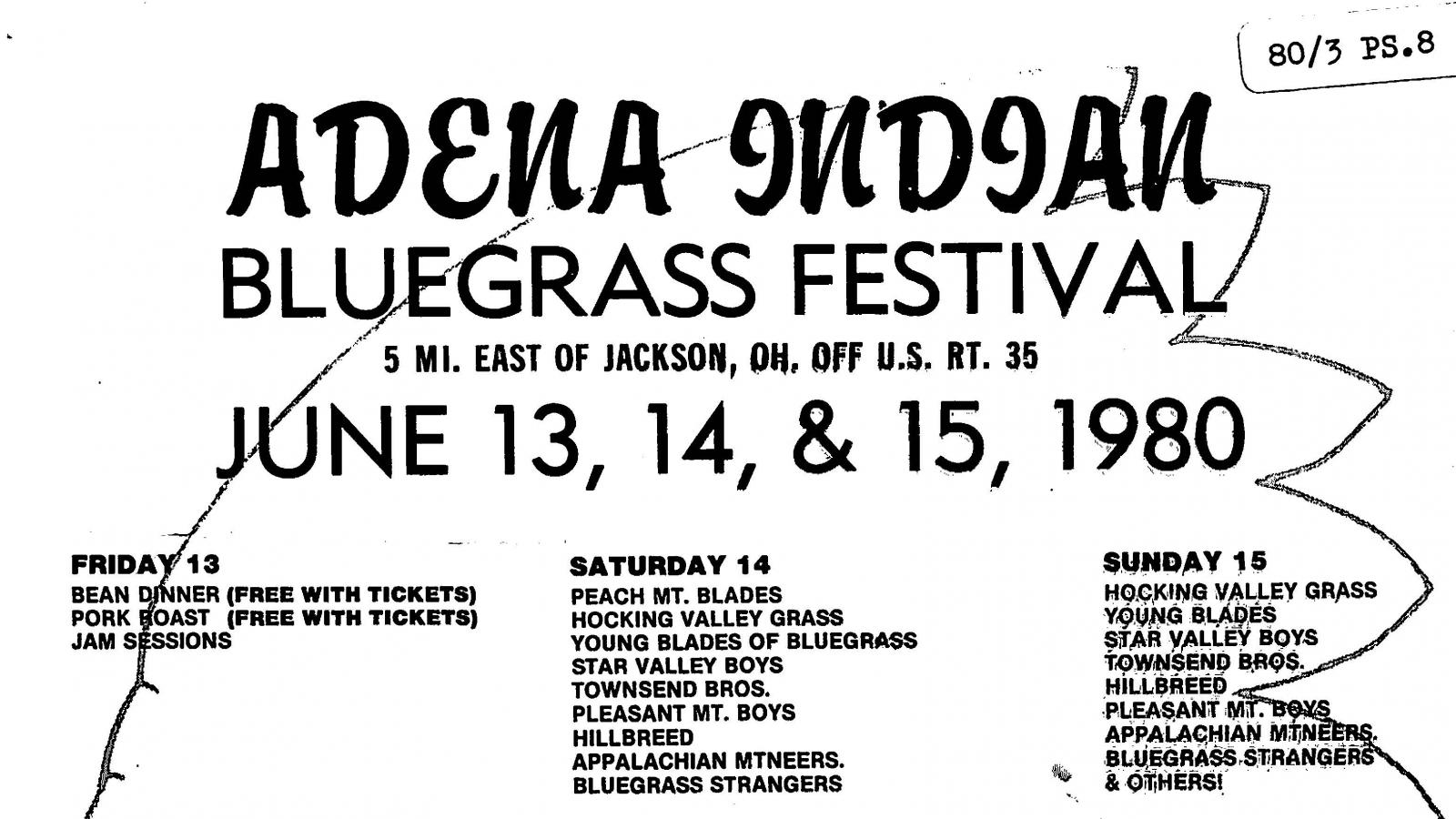 Promotional poster for the Adena Indian Bluegrass Festival, held southeast of Jackson, Ohio, on June 13,14, and 15, 1980