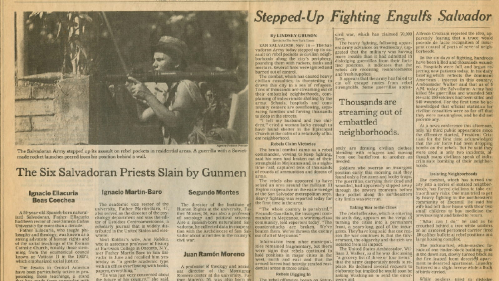 """The Six Salvadoran Priests Slain by Gunmen"" in The New York Times, Nov 17, 1989"