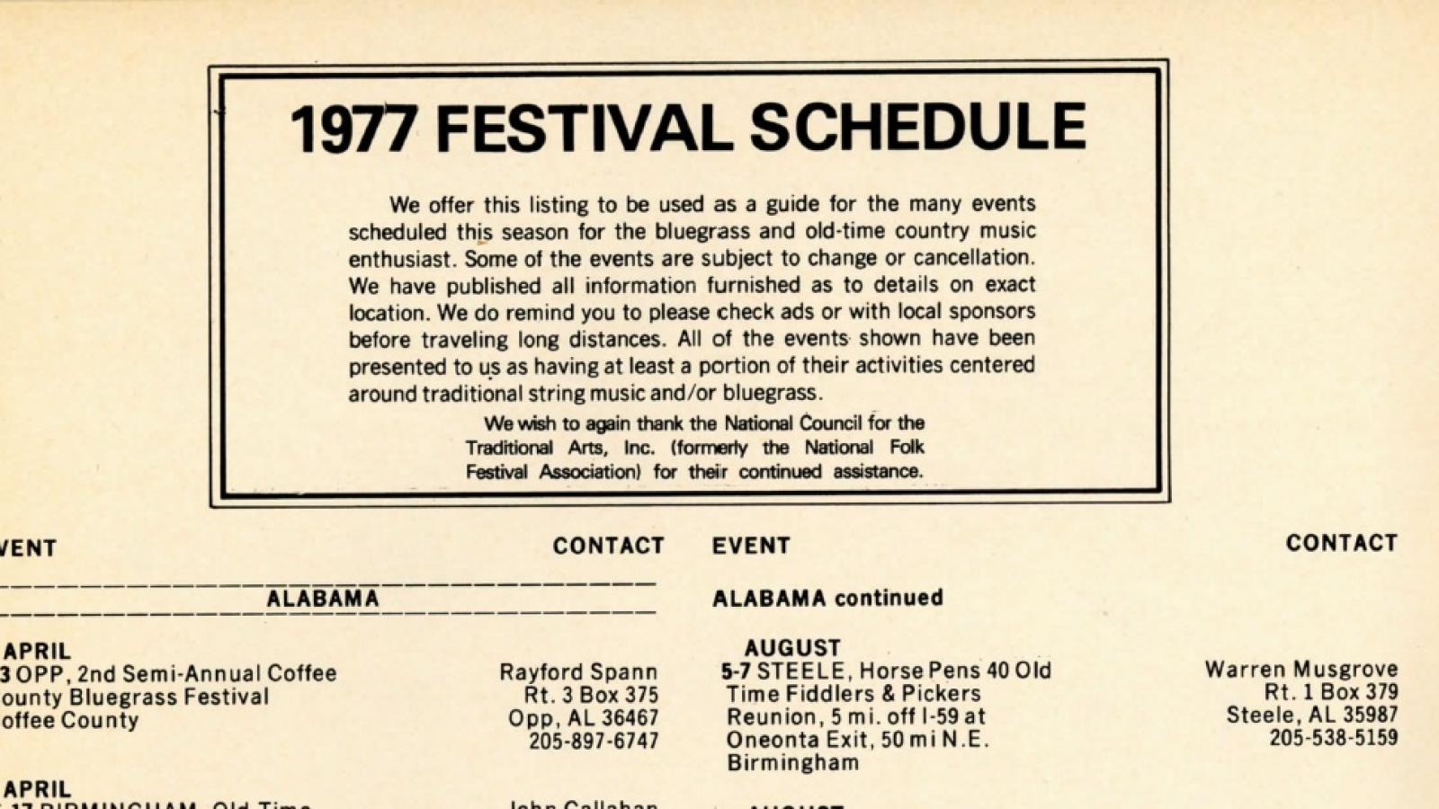 Listing of U.S. Bluegrass festivals in the spring and summer of 1977 in Bluegrass 77 magazine.