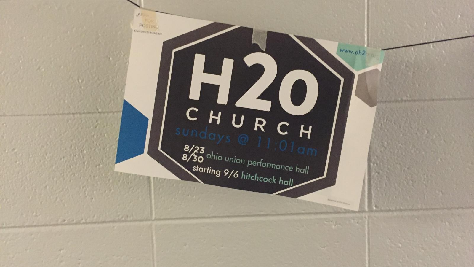 Ohio State University Campus Religion: H2O Church sign in Taylor Tower