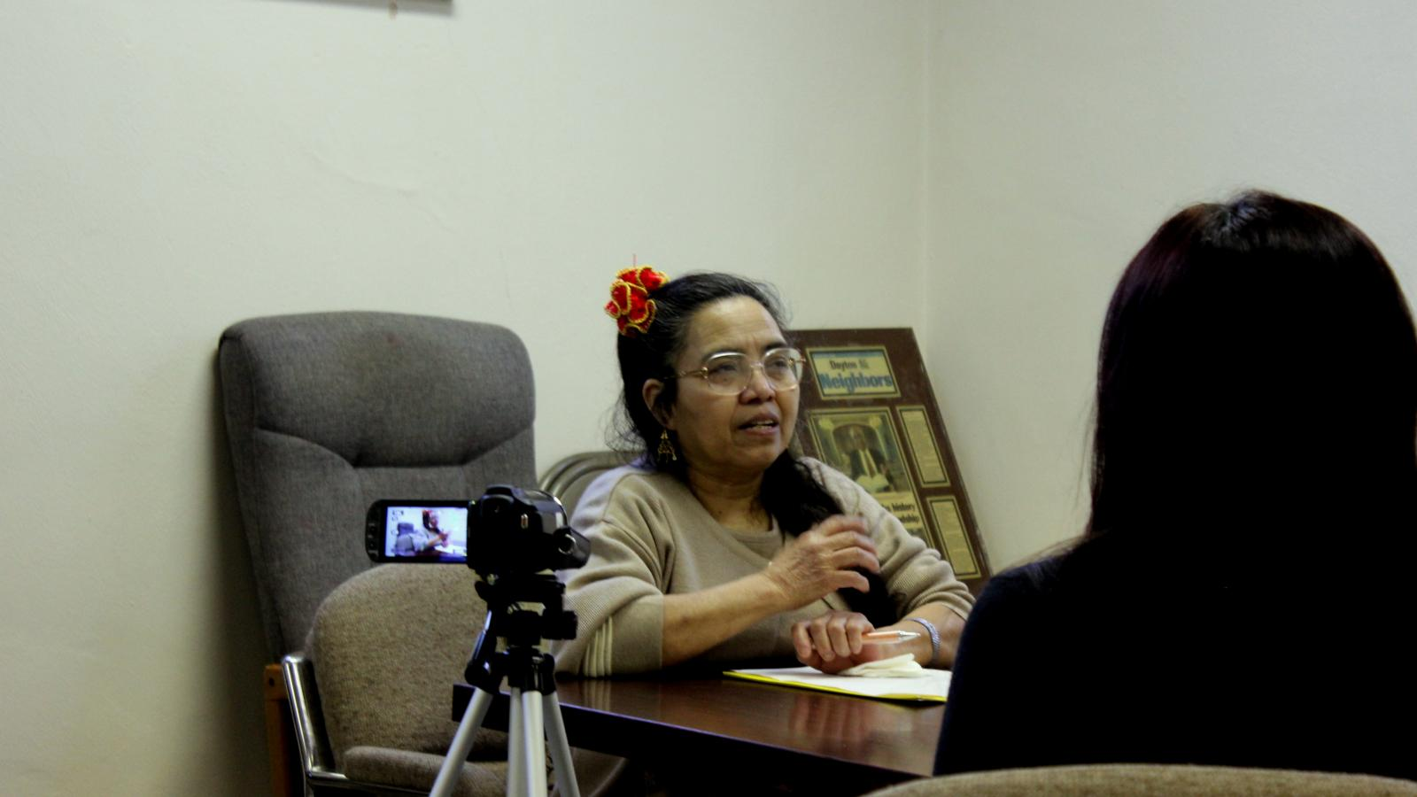Doña Filomena during her interview at her church