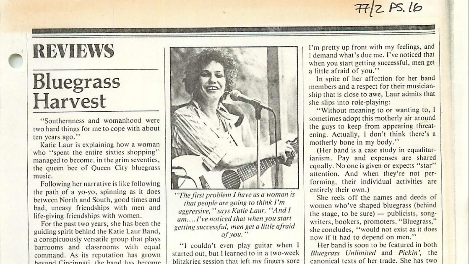 An article on Katie Laur, musician and fieldworker.