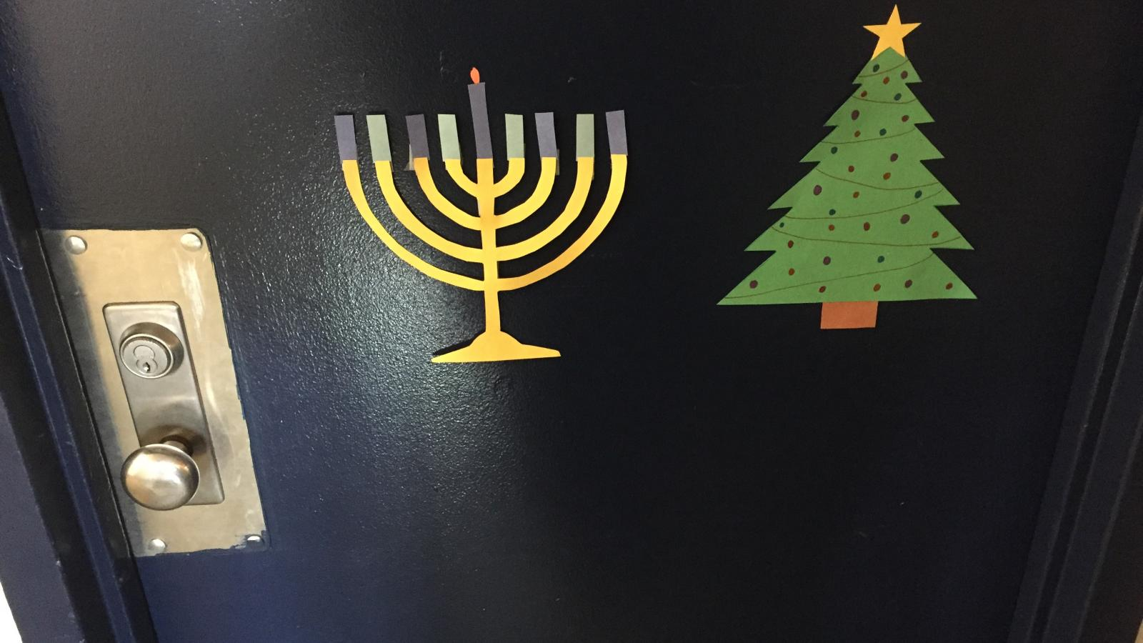 Ohio State University Campus Religion: Menorah and Christmas Tree in Taylor Tower