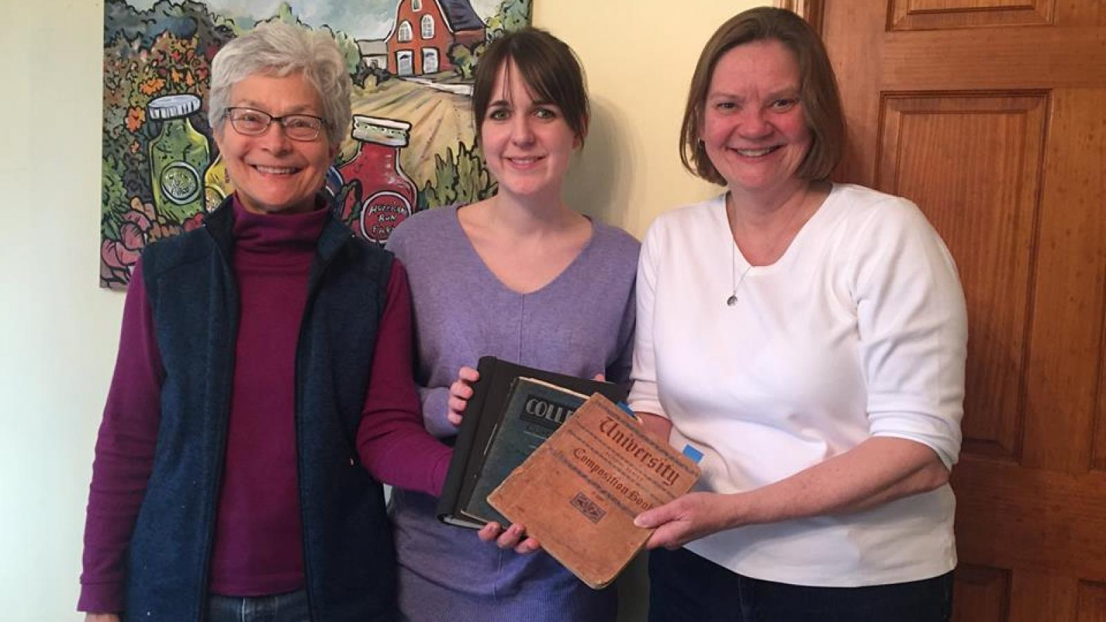 Barb Bradbury (left) and fieldworkers Mariah Marsden (center) and Laura Thomas (right).