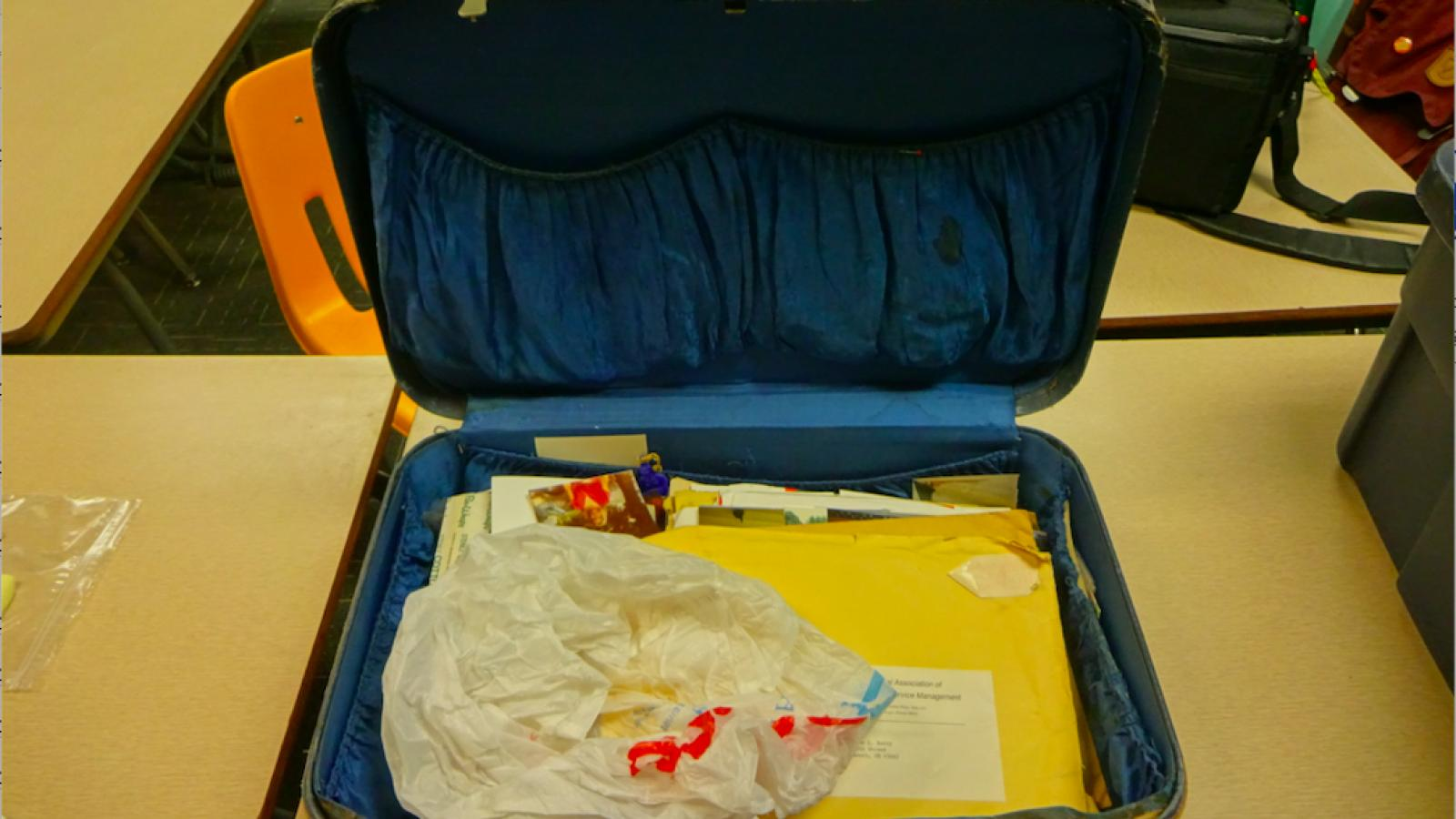 Photo of a suitcase that belonged to Geraldine Lewis