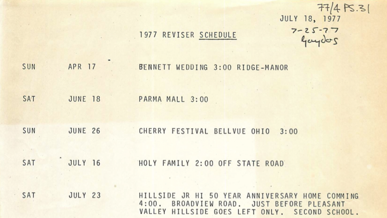 Schedule for the 1977 performances of the St. Theodosius Folk Dancers.