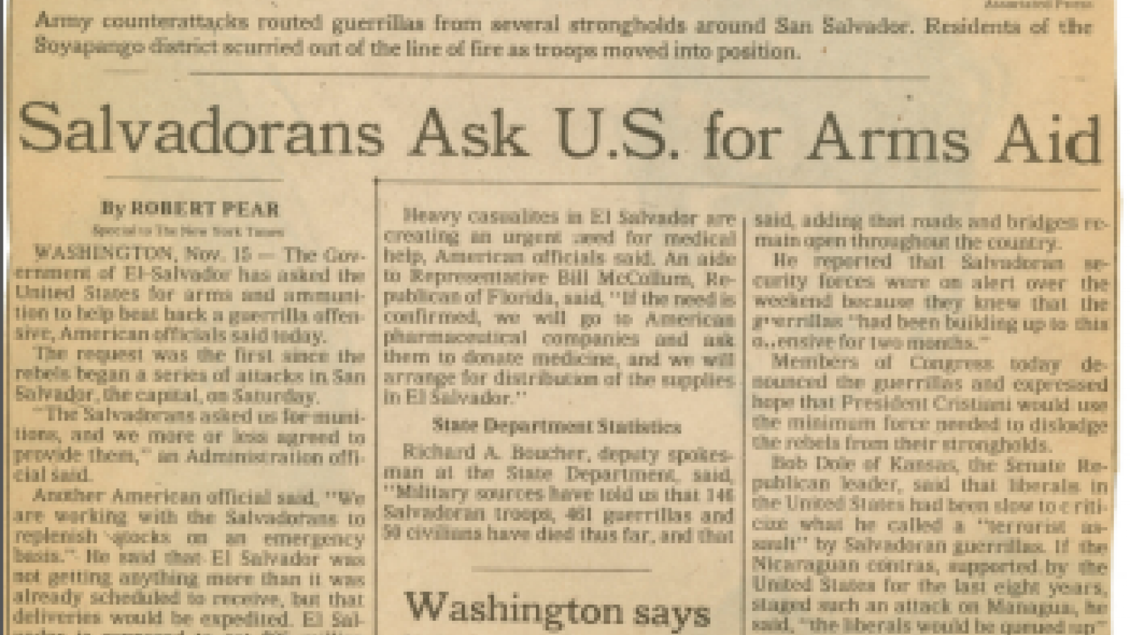Salvadorans Ask U.S. for Arms Aid. New York Times.