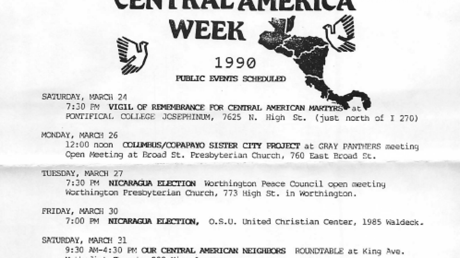 Central America Week Schedule of Public Events 1990