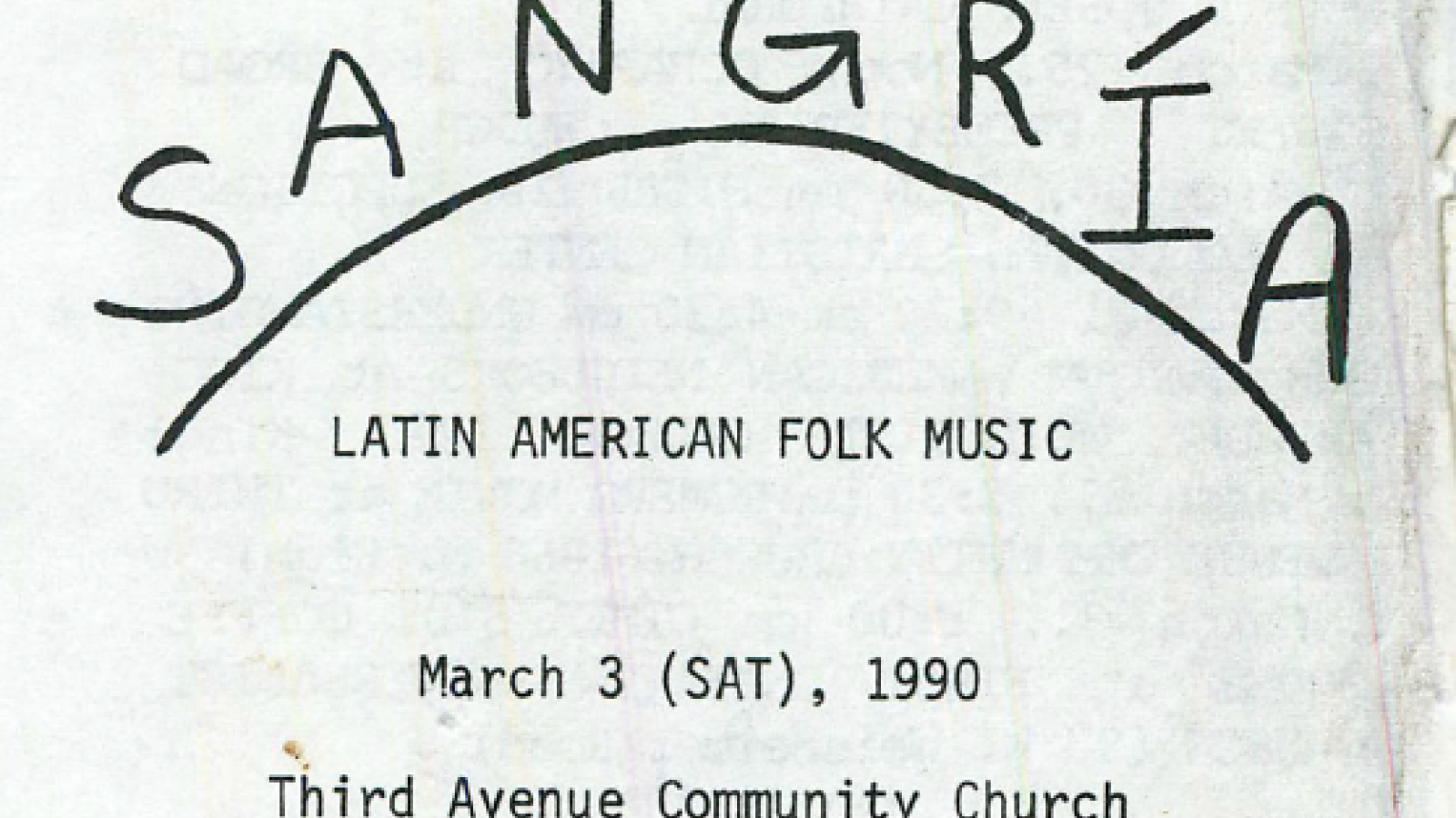 Flyer for Sangria, Latin American Folk Band March 3, 1990