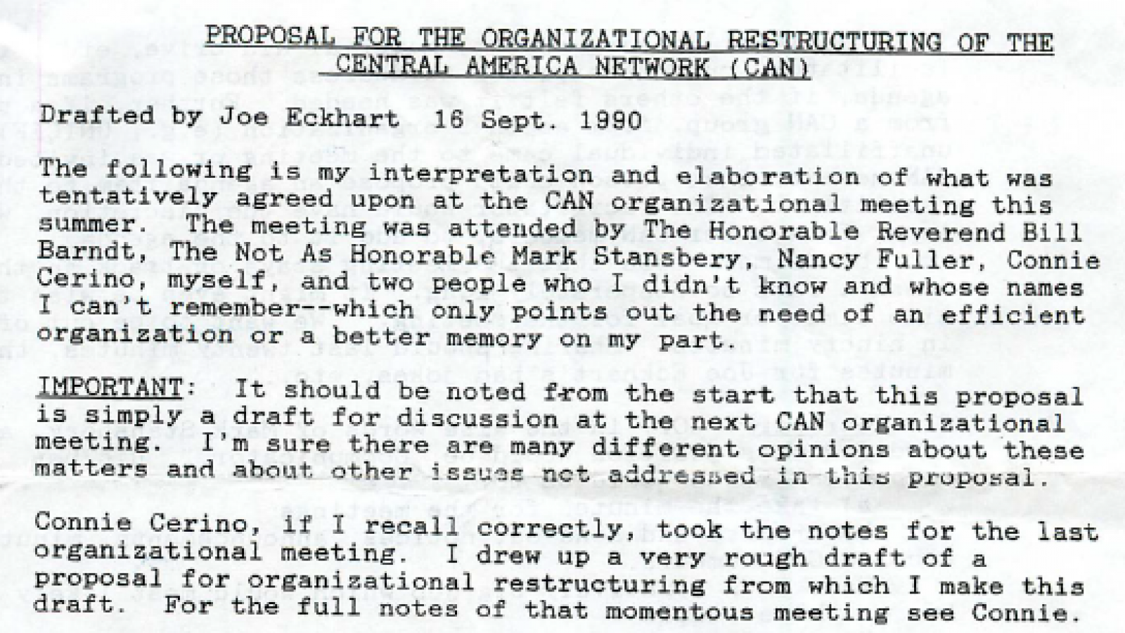 Proposal for Restructuring Central America Network Sept. 16, 1990