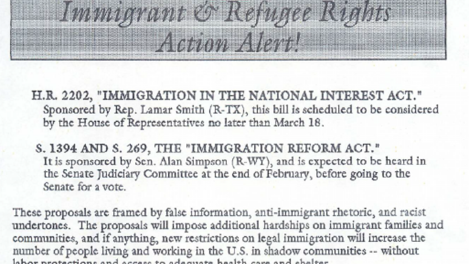 """Immigrant and Refugee Rights Action Alert!"" H.R. 2202, S. 1394, and S. 269"