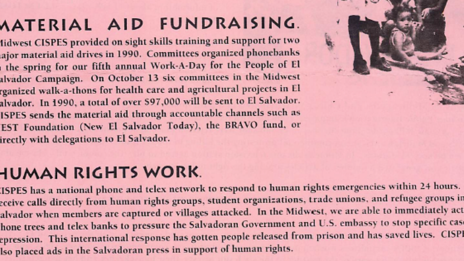CISPES Material Aid and Fundraising 1990