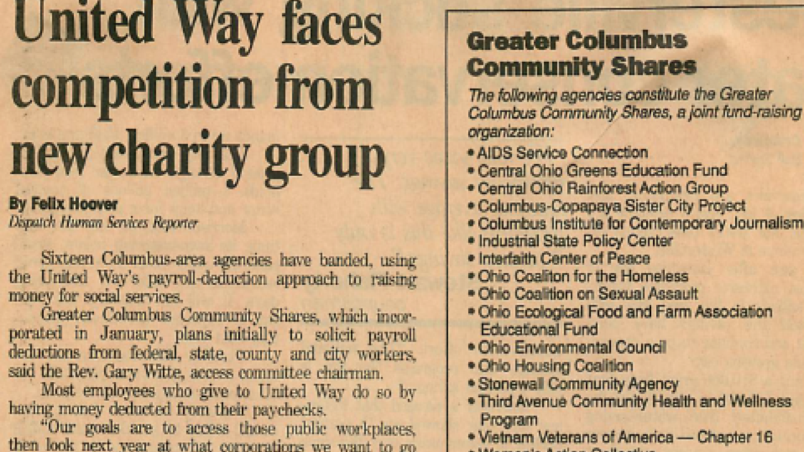 """United Way faces competition from new charity group"" Columbus Dispatch Undated"