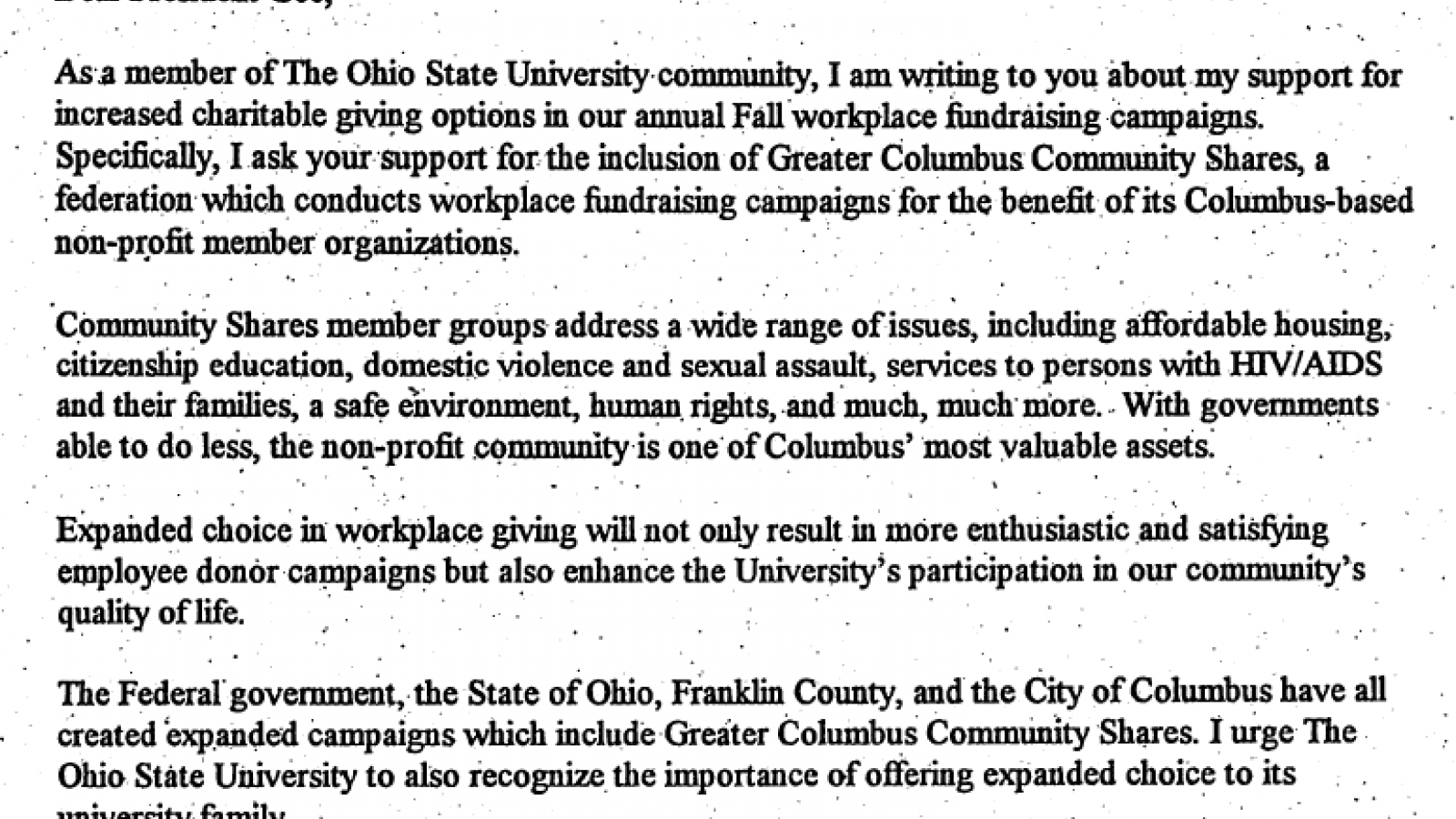 Letter to OSU President Gee on GCCS