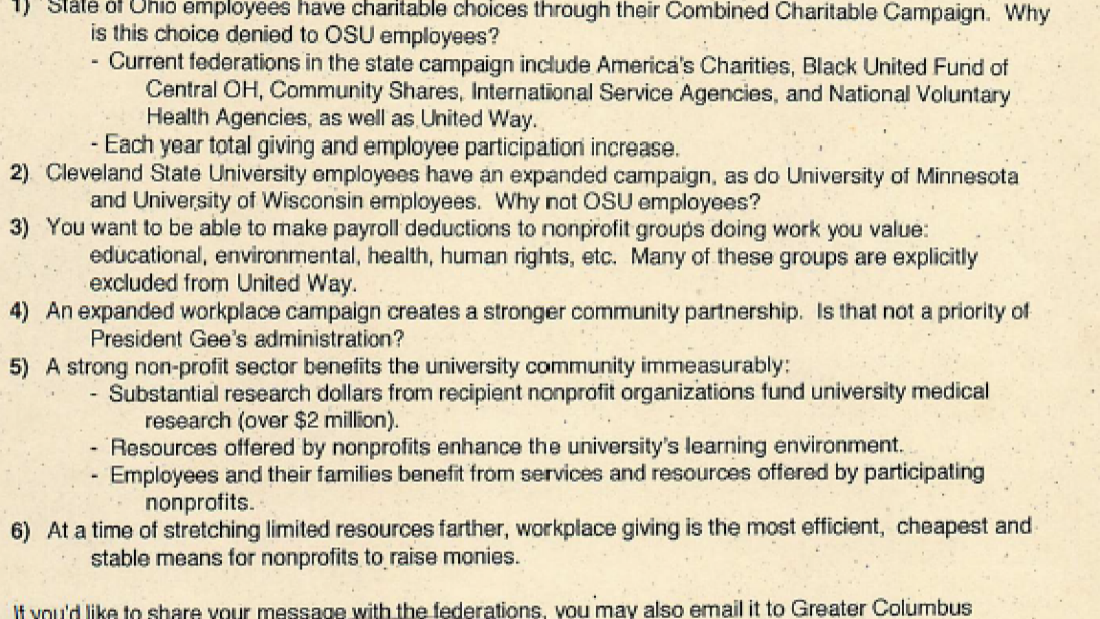 Reasons GCCS Should be an option for OSU Employees to donate to
