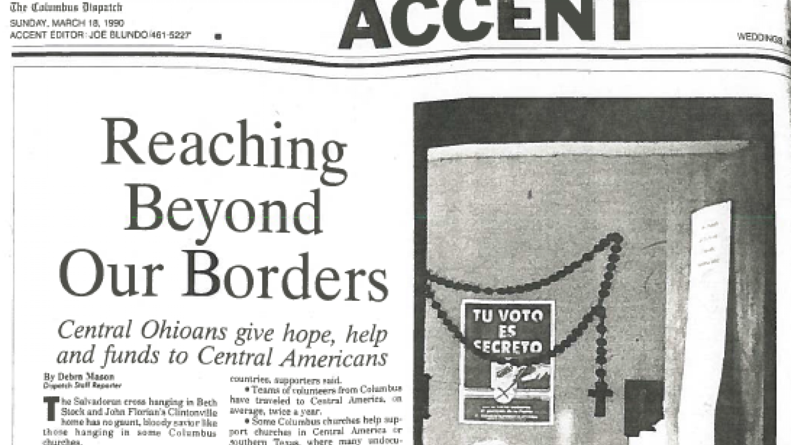 """Reaching Beyond Our Borders"" Columbus Dispatch March 18, 1990"