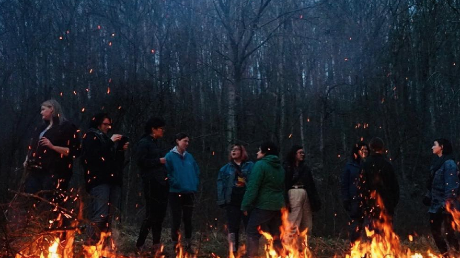 Image of field school students standing behind a fire in the woods