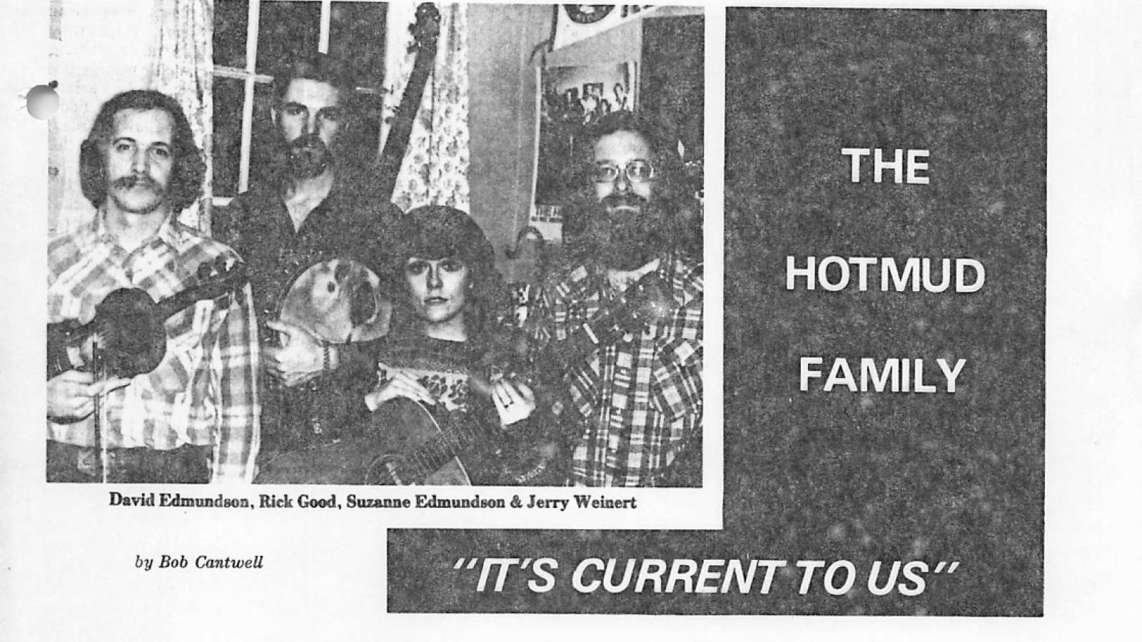 The Hot Mud Family Band in Bluegrass Unlimited magazine, April 1977.