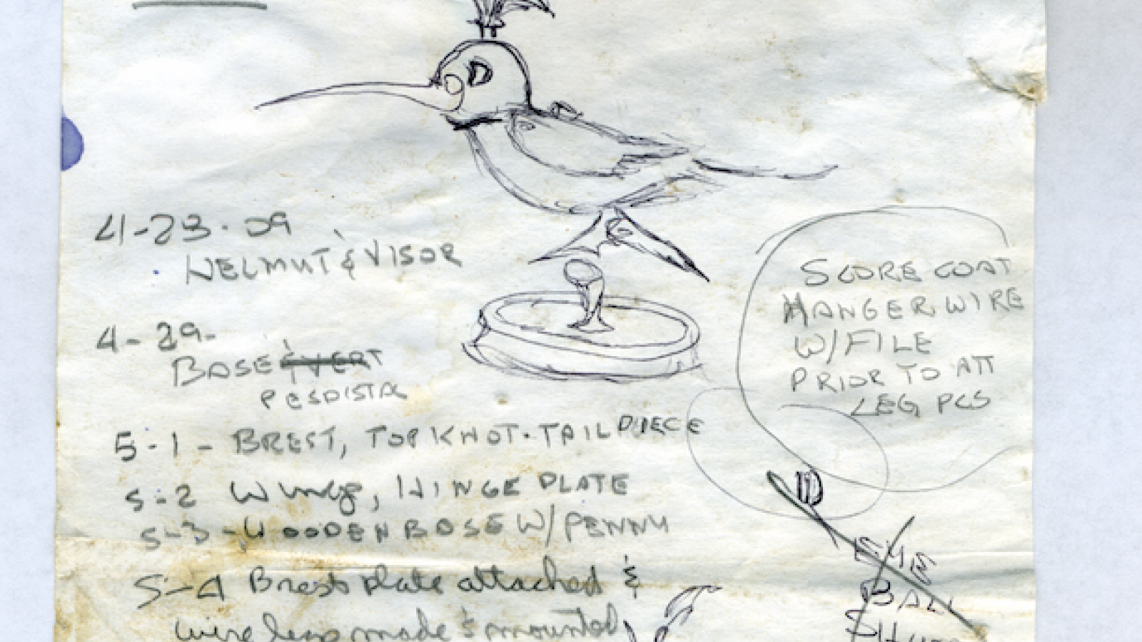 Sketch notes for Armored Hummingbird